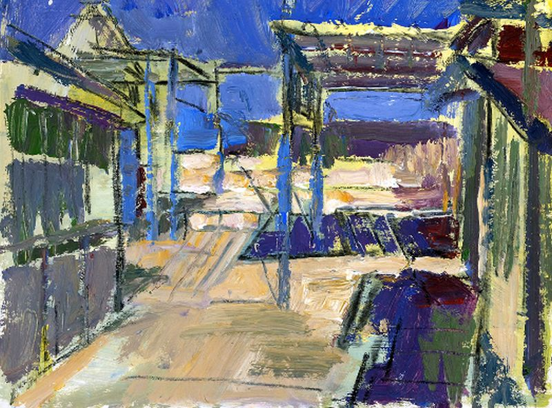 Detlef Birkholz | »Fischerhütten Bansin«| Acryl und Kohle auf Papier | 28x35cm